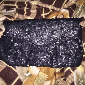 Sequined Black Clutch